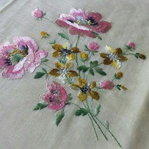 Vintage Embroidered Floral Kerchief